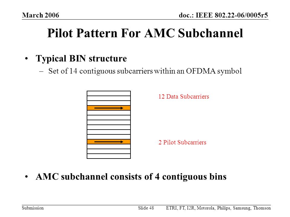 Pilot Pattern For AMC Subchannel