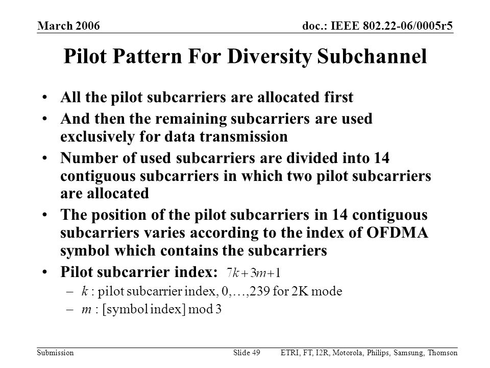 Pilot Pattern For Diversity Subchannel