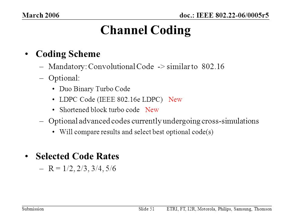 Channel Coding Coding Scheme Selected Code Rates