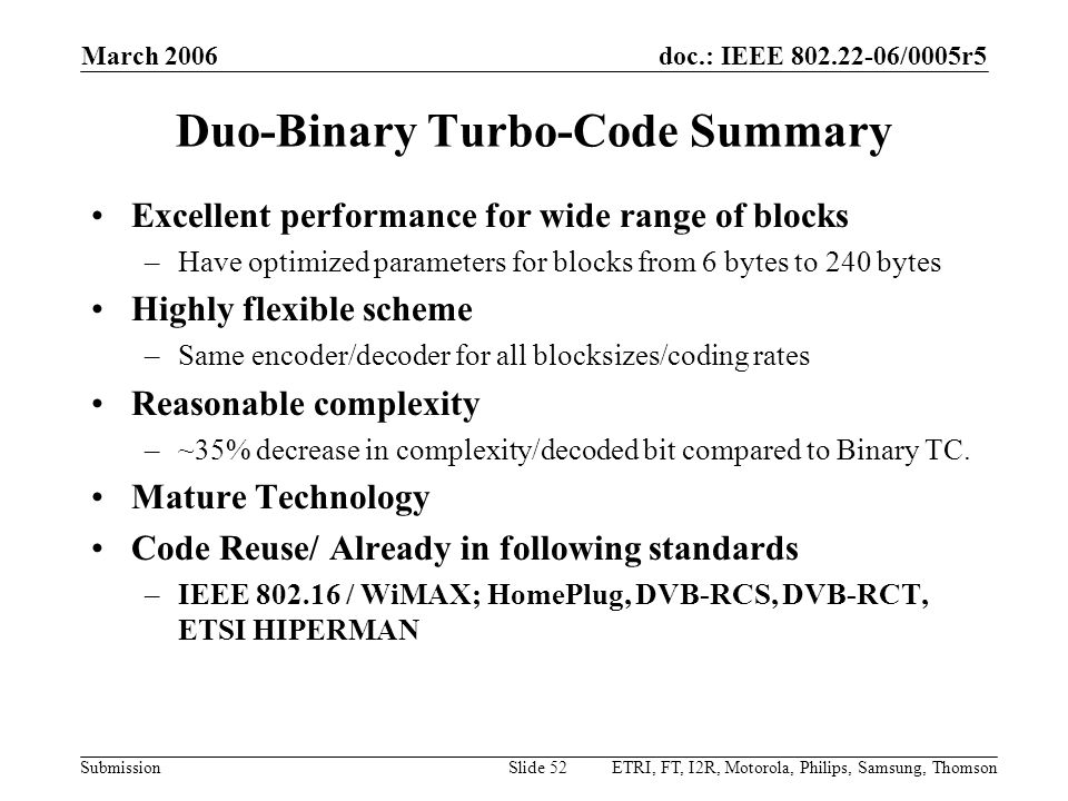 Duo-Binary Turbo-Code Summary