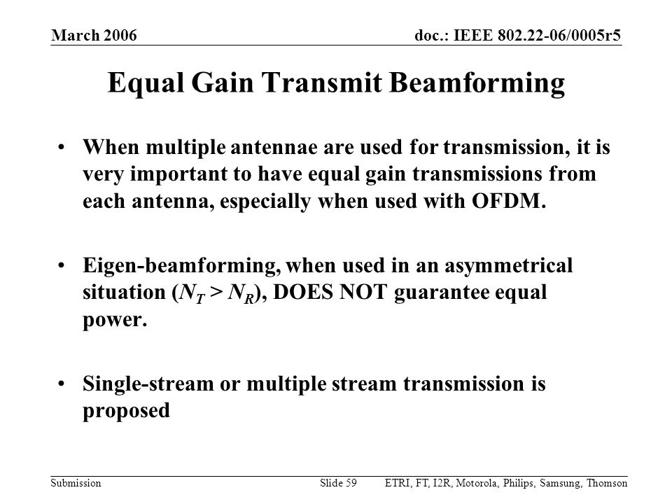 Equal Gain Transmit Beamforming