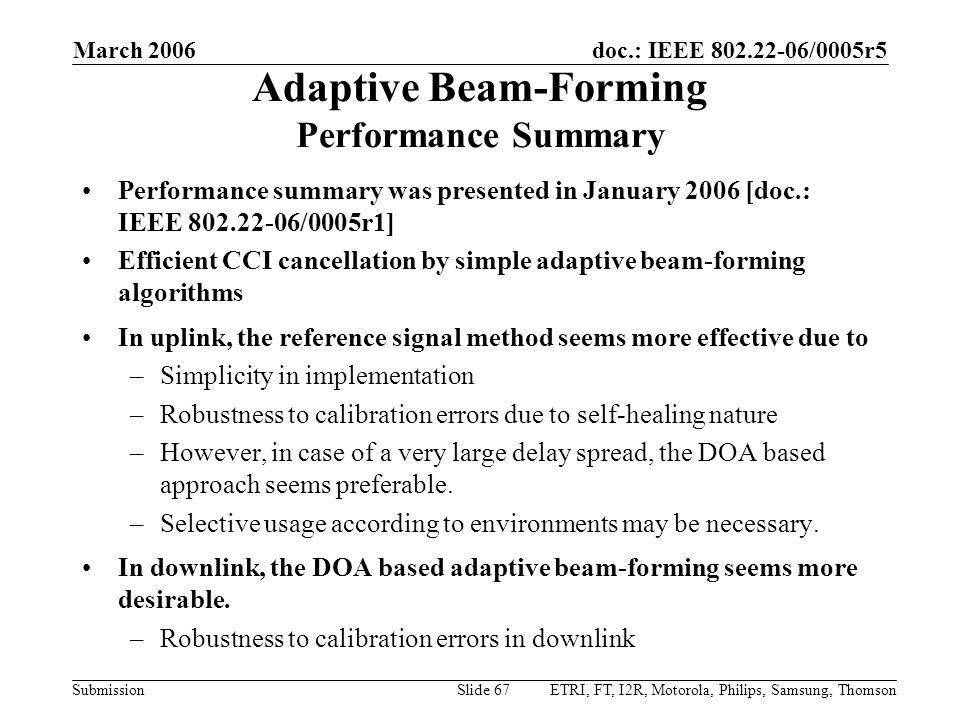 Adaptive Beam-Forming Performance Summary