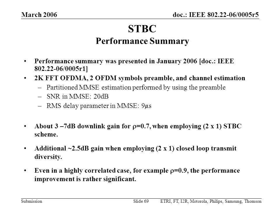STBC Performance Summary