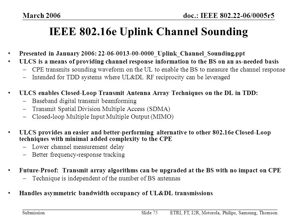 IEEE 802.16e Uplink Channel Sounding
