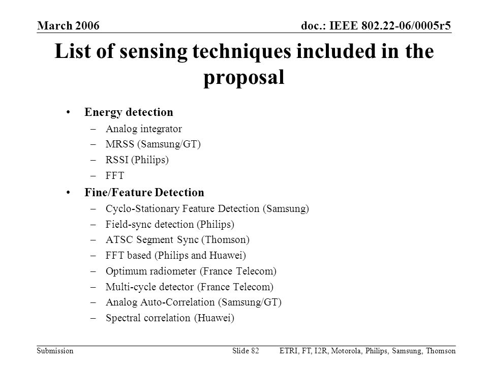 List of sensing techniques included in the proposal