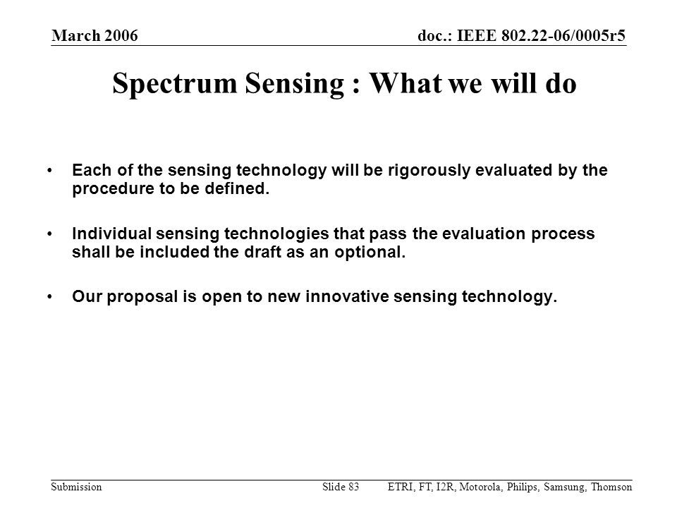 Spectrum Sensing : What we will do