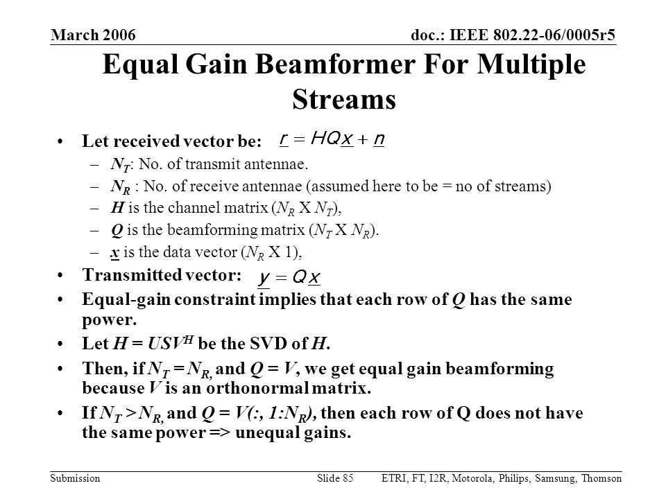 Equal Gain Beamformer For Multiple Streams