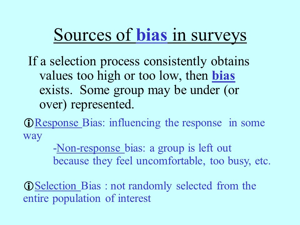 Sources of bias in surveys