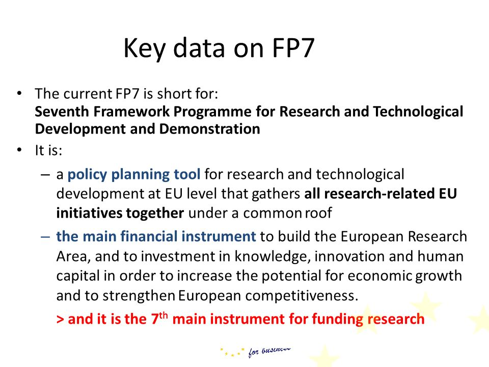 Key data on FP7 The current FP7 is short for: Seventh Framework Programme for Research and Technological Development and Demonstration.