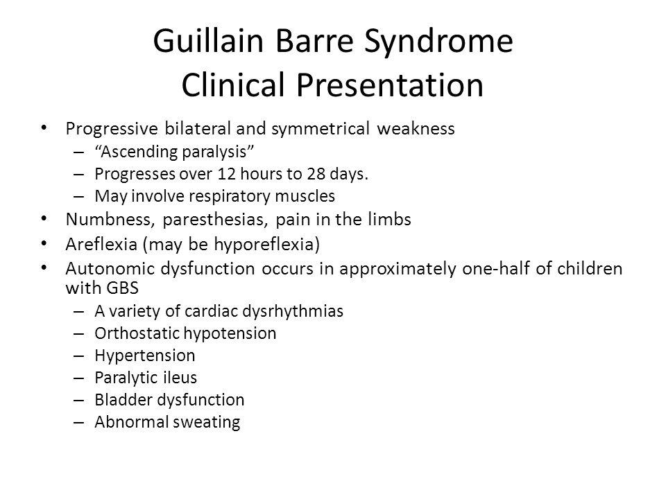 guillain barre syndrome Guillain-barré syndrome (gbs) is an acute onset, usually monophasic immune-mediated disorder of the peripheral nervous system the term gbs is often considered to be synonymous with acute inflammatory demyelinating polyradiculoneuropathy (aidp), but with the increasing recognition of variants.