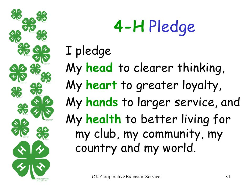 photograph regarding 4-h Pledge Printable referred to as 4-h Club Pledge Motto Identical Key terms Rules - 4-h