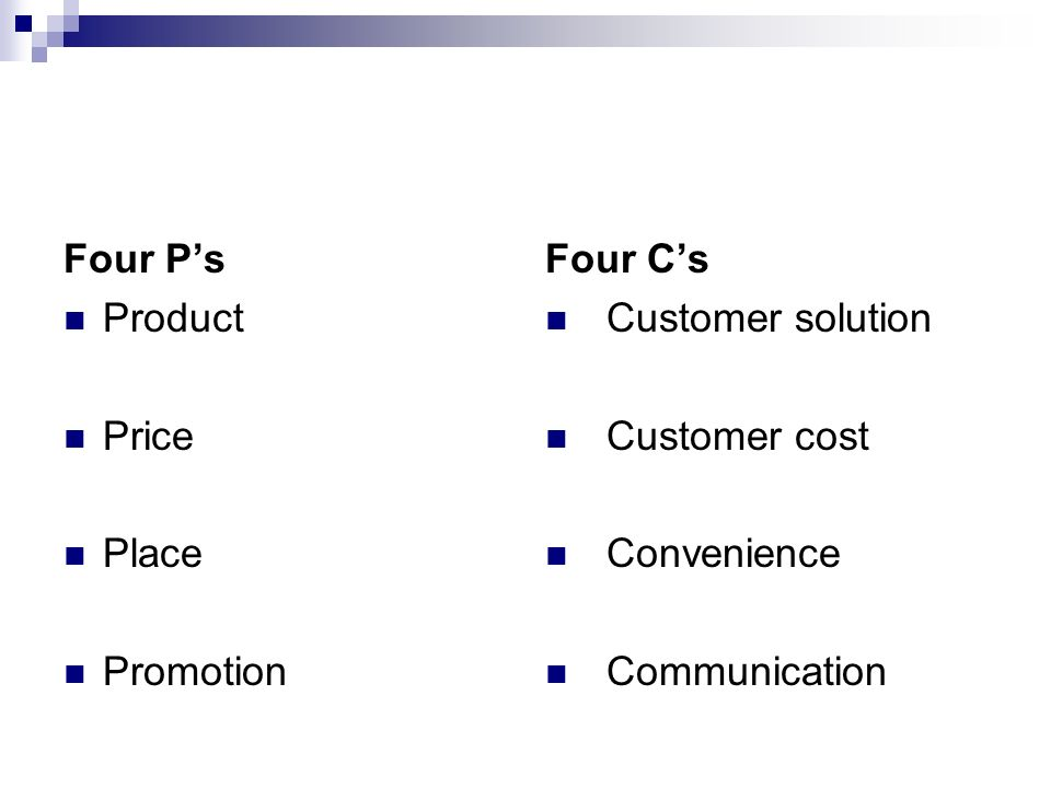 Four P's Product. Price. Place. Promotion. Four C's. Customer solution. Customer cost. Convenience.