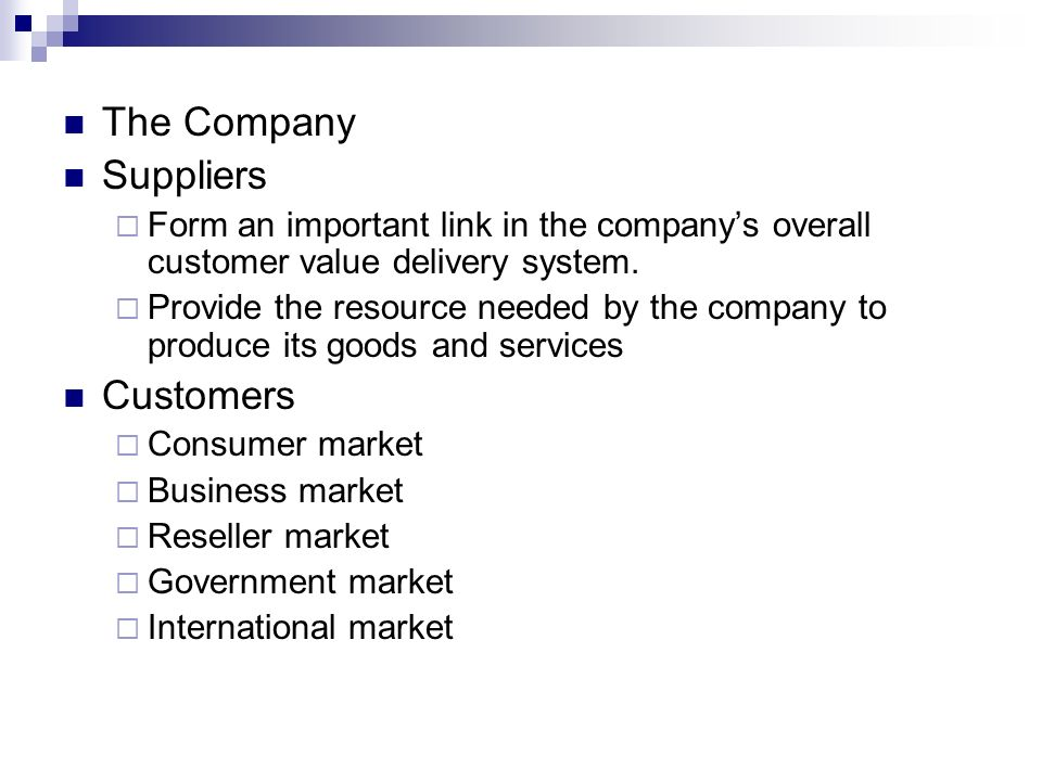 The Company Suppliers Customers