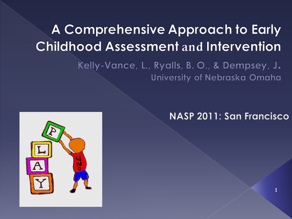 A Comprehensive Approach to Early Childhood Assessment and Intervention Kelly-Vance, L., Ryalls, B. O., & Dempsey, J. University of Nebraska Omaha