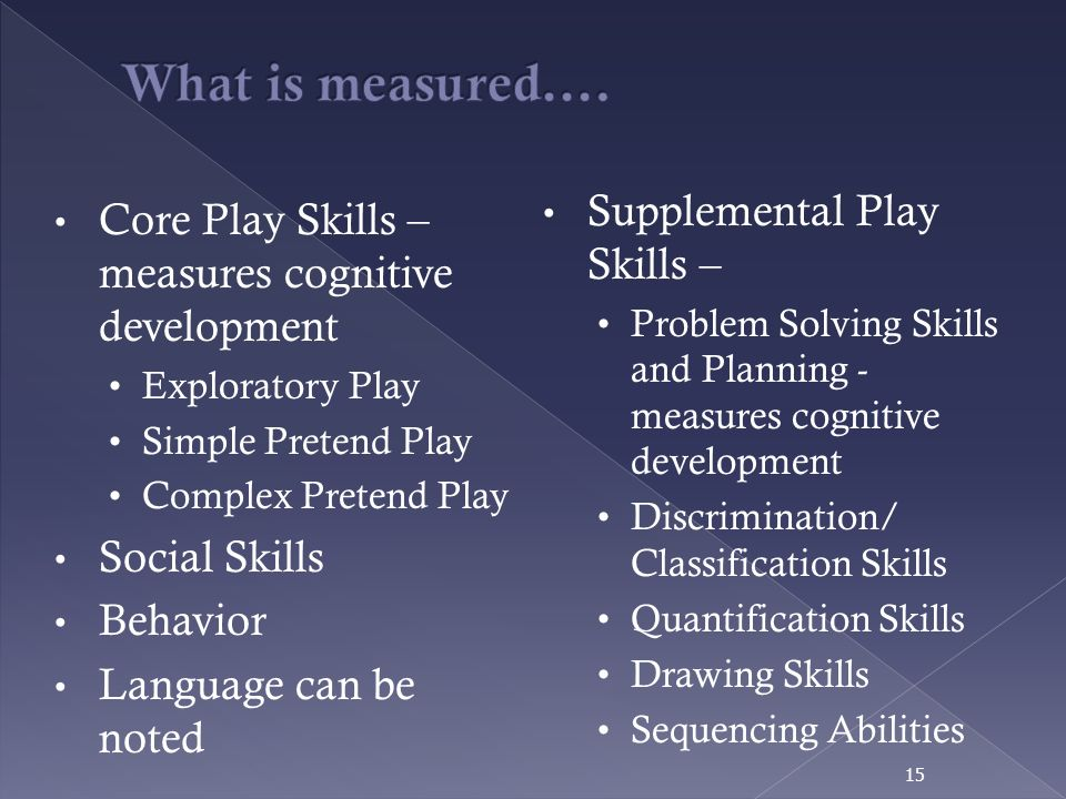 What is measured…. Supplemental Play Skills –