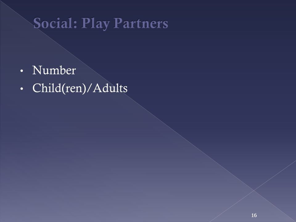 Social: Play Partners Number Child(ren)/Adults