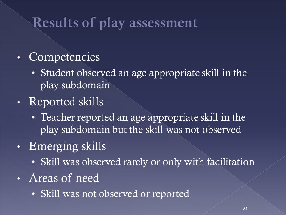 Results of play assessment