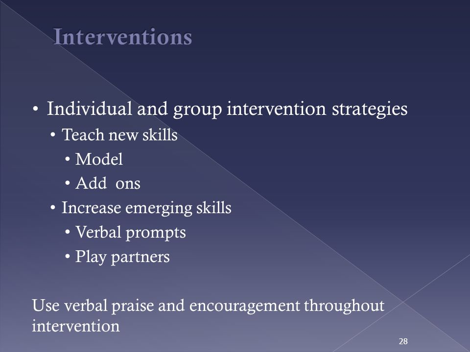 Interventions Individual and group intervention strategies