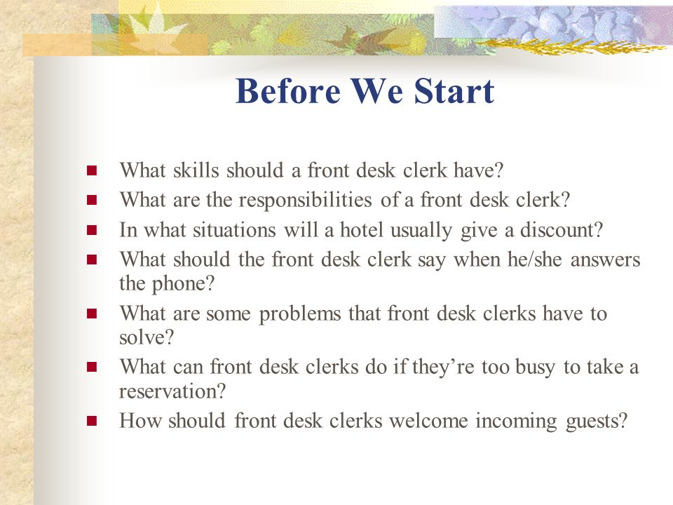 What Is A Desk Clerk