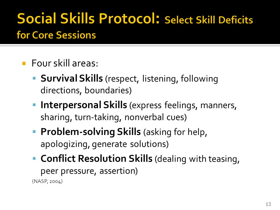 Social Skills Protocol: Select Skill Deficits for Core Sessions
