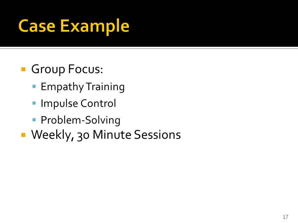 Case Example Group Focus: Weekly, 30 Minute Sessions Empathy Training