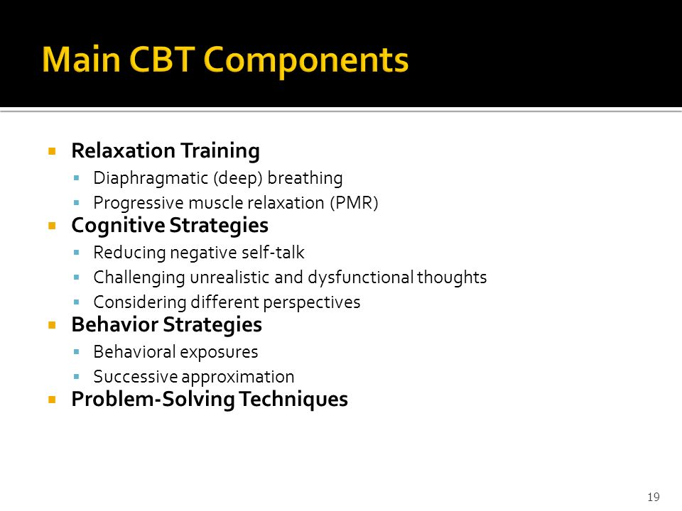 Main CBT Components Relaxation Training Cognitive Strategies