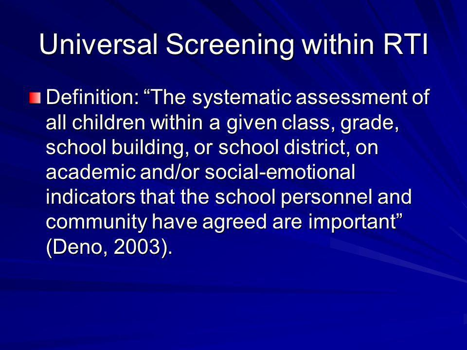 Universal Screening within RTI