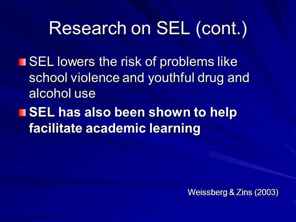 Research on SEL (cont.) SEL lowers the risk of problems like school violence and youthful drug and alcohol use.