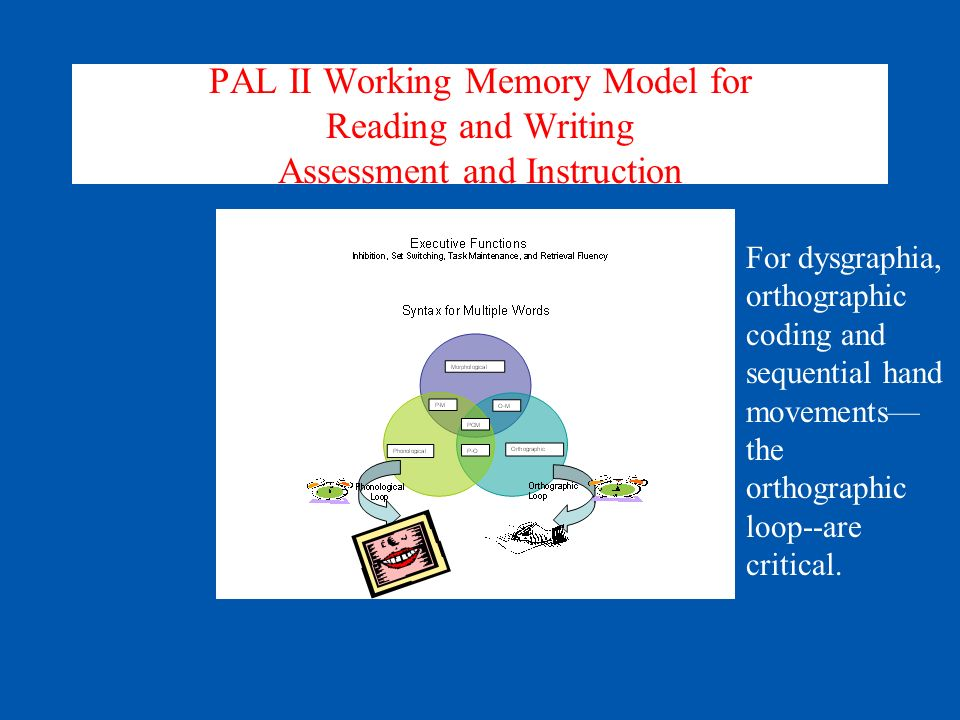 PAL II Working Memory Model for Reading and Writing Assessment and Instruction