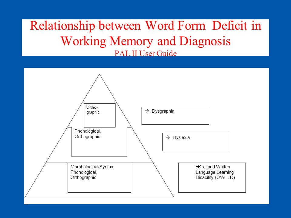 Relationship between Word Form Deficit in Working Memory and Diagnosis PAL II User Guide