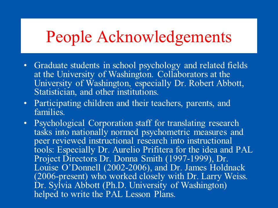 People Acknowledgements
