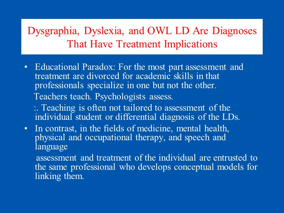Dysgraphia, Dyslexia, and OWL LD Are Diagnoses That Have Treatment Implications