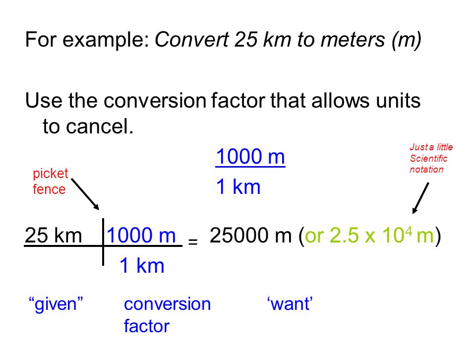 For Example Convert 25 Km To Meters M
