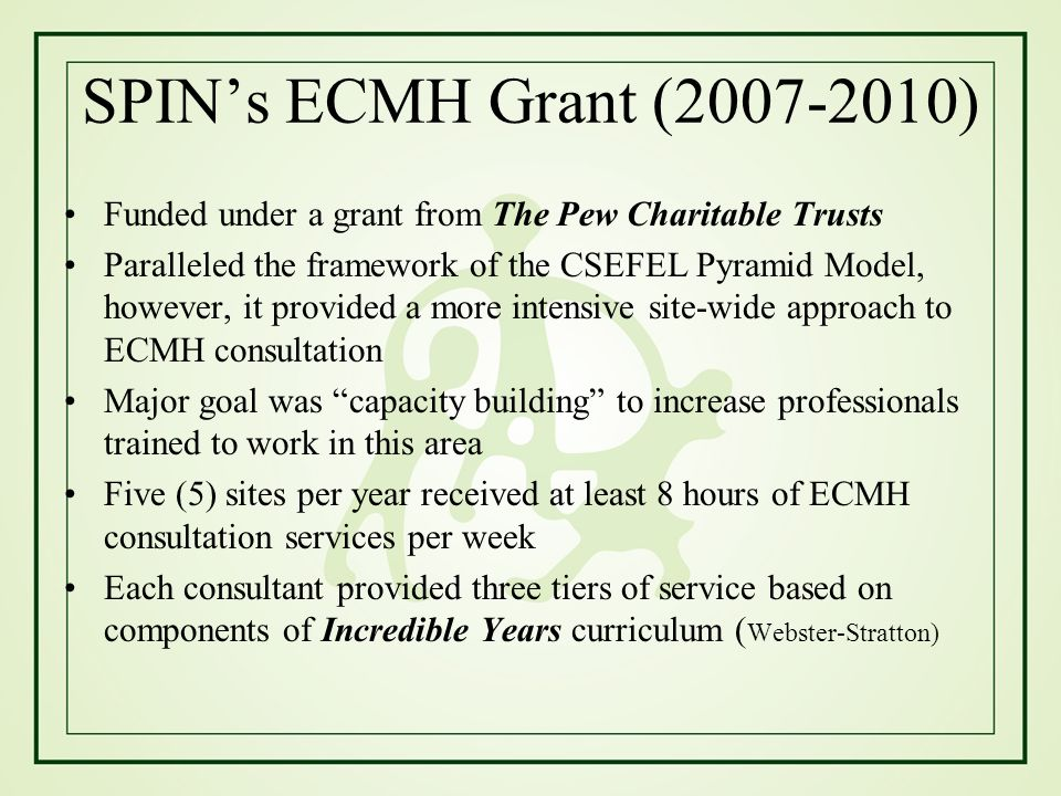 SPIN's ECMH Grant (2007-2010) Funded under a grant from The Pew Charitable Trusts.