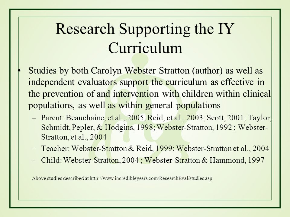Research Supporting the IY Curriculum