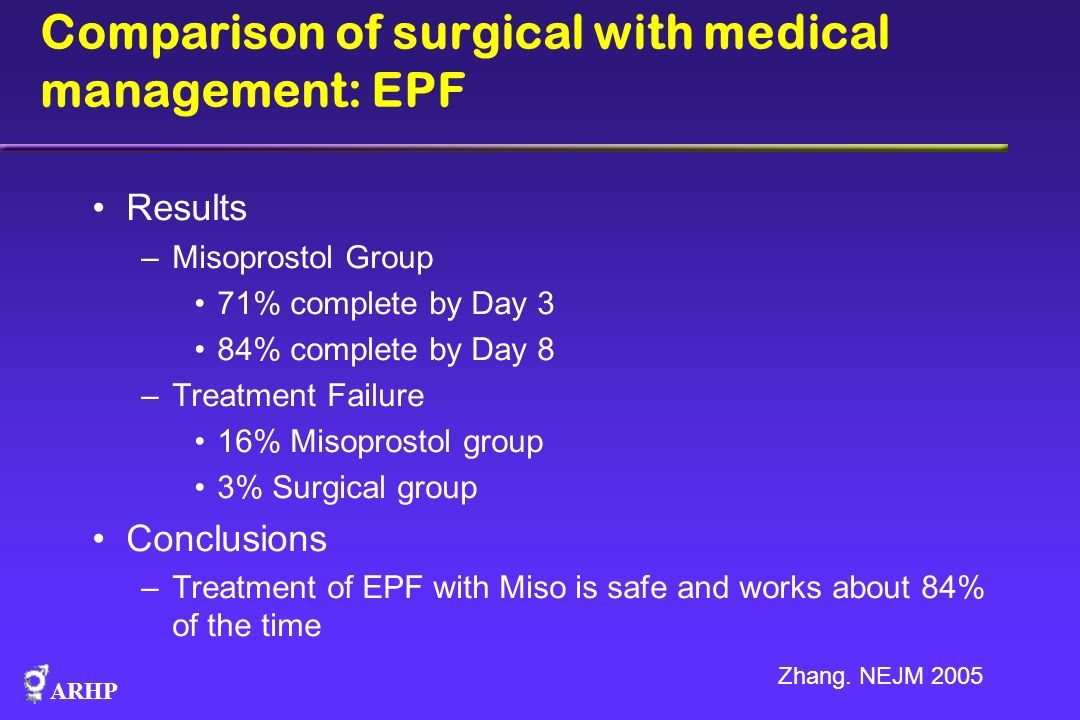 Comparison of surgical with medical management: EPF