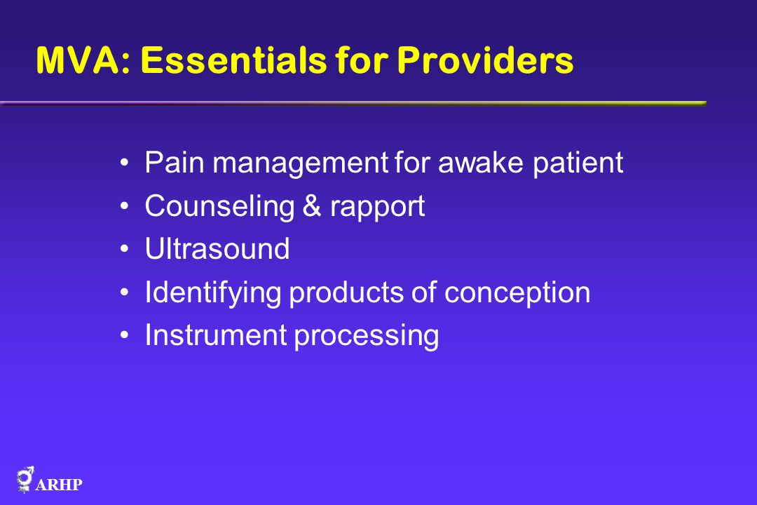 MVA: Essentials for Providers