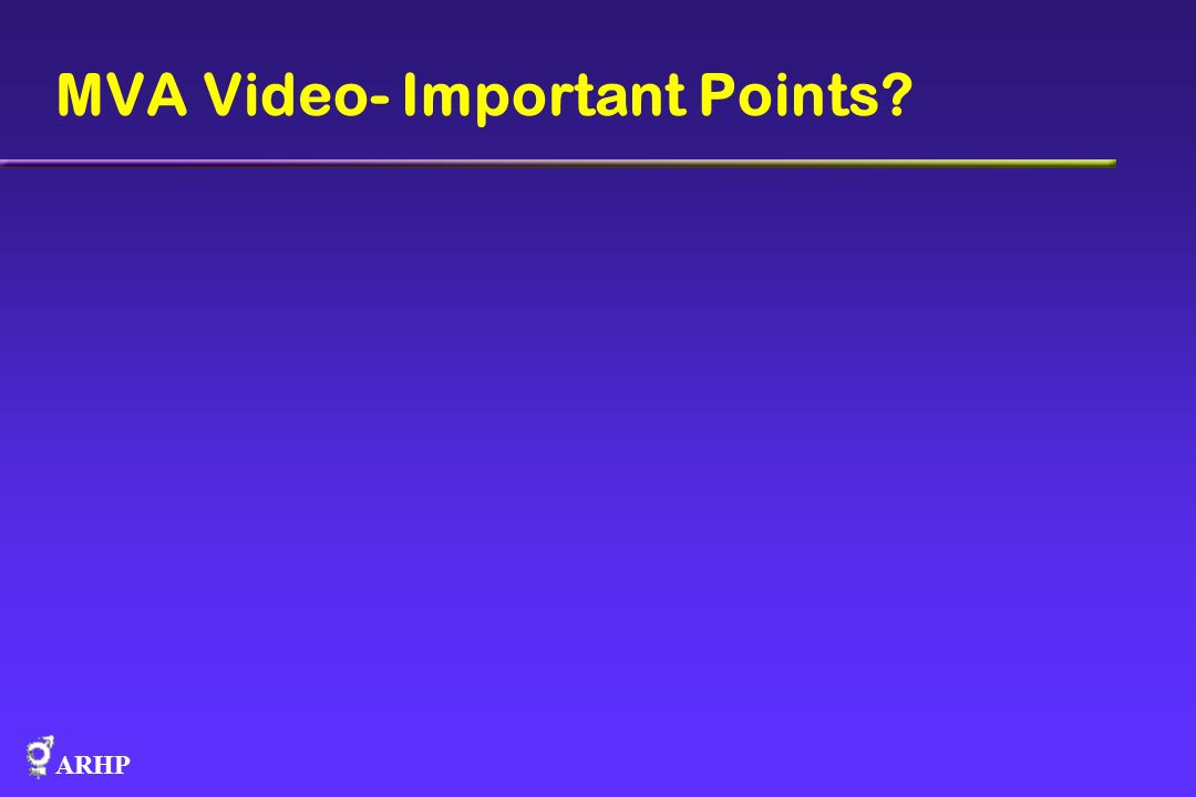 MVA Video- Important Points