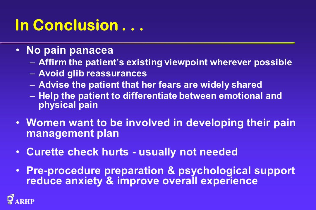 In Conclusion . . . No pain panacea
