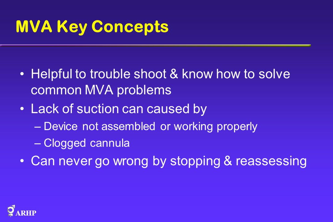 MVA Key Concepts Helpful to trouble shoot & know how to solve common MVA problems. Lack of suction can caused by.