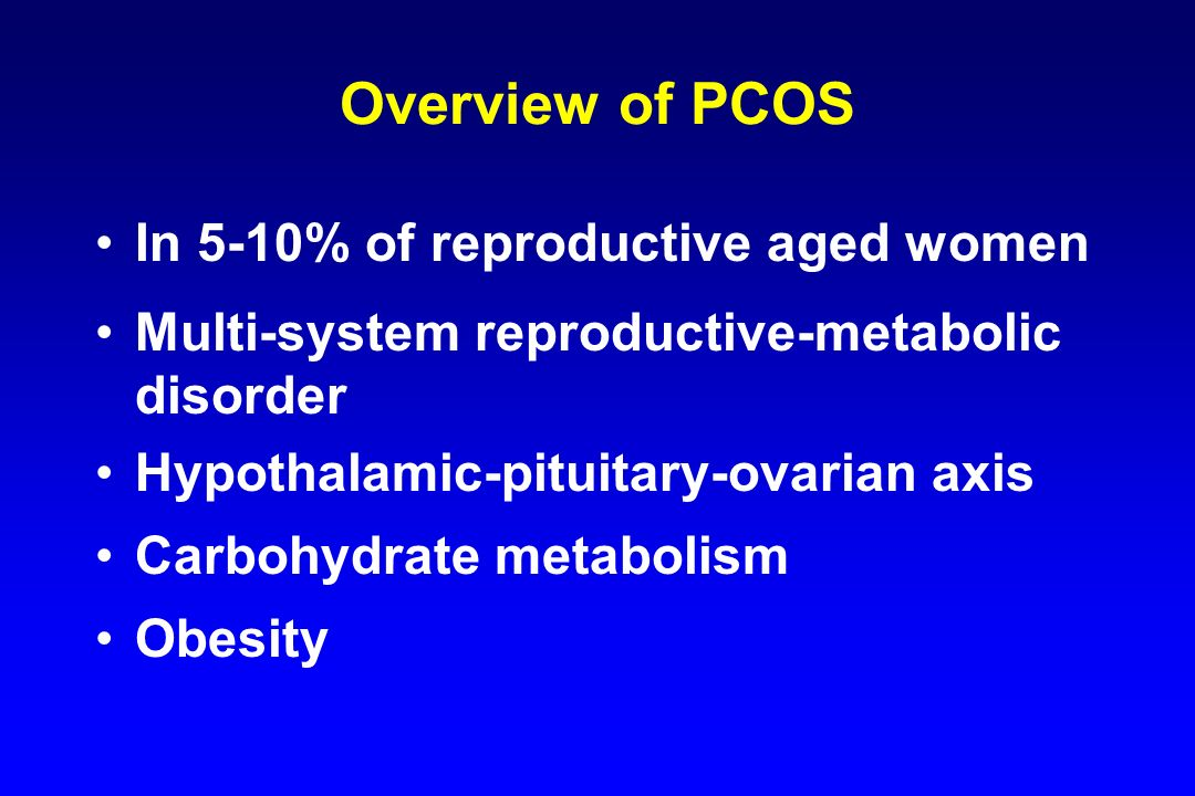 Overview of PCOS In 5-10% of reproductive aged women