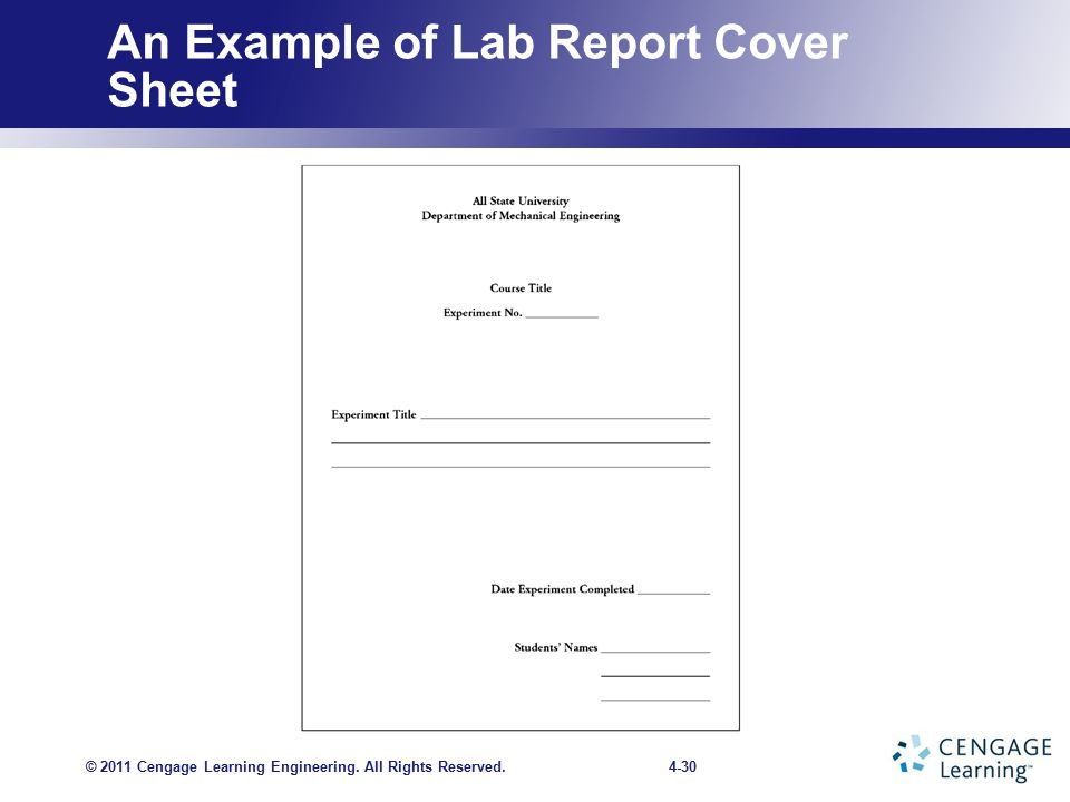 an example of lab report cover sheet