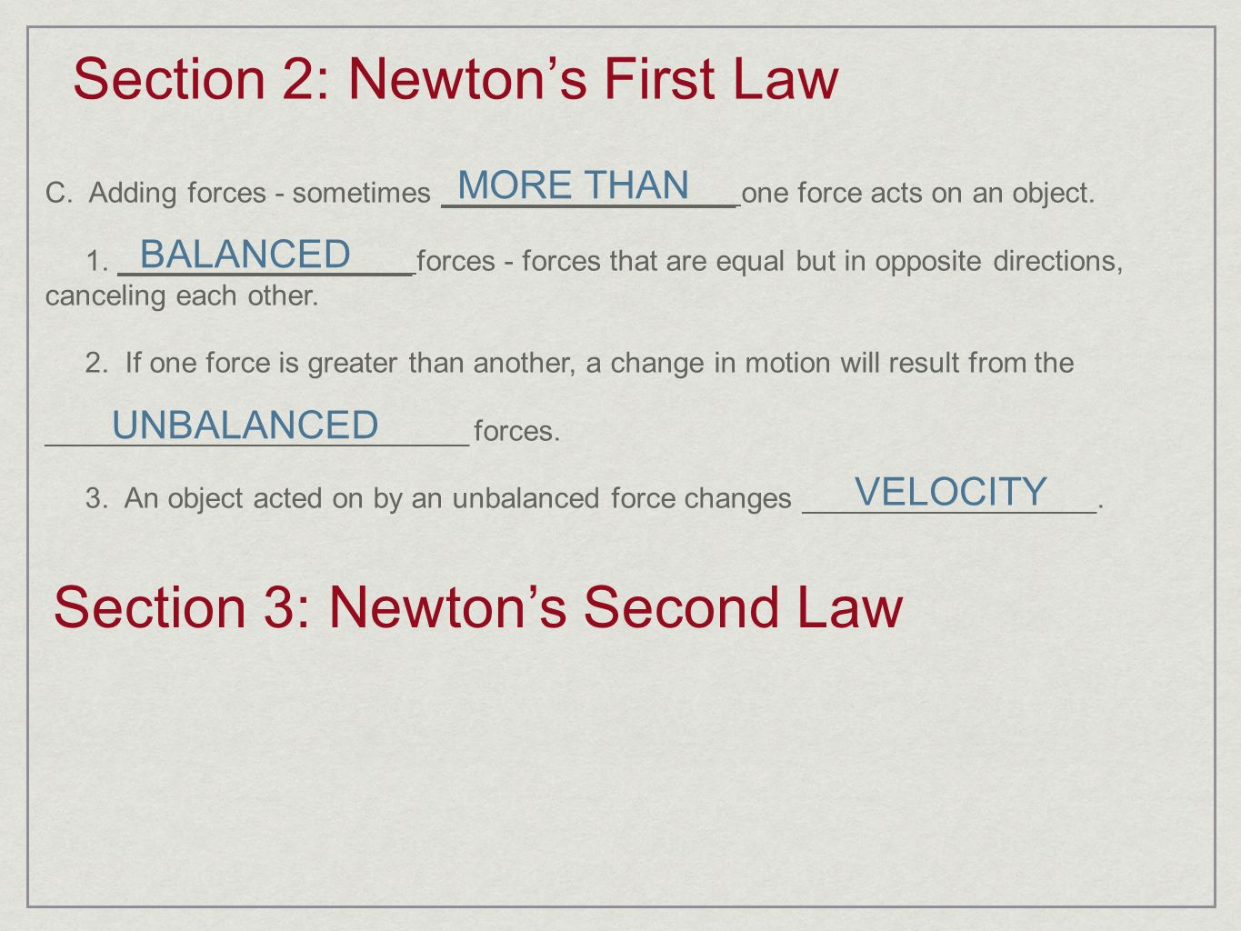 Section 2: Newton's First Law