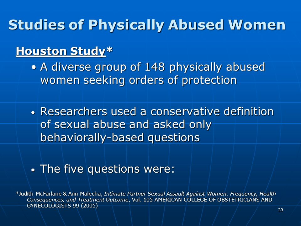 Studies of Physically Abused Women