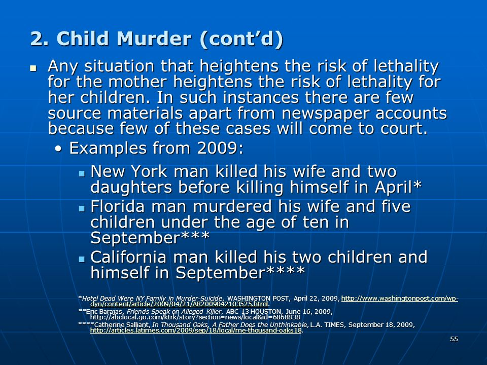 2. Child Murder (cont'd)