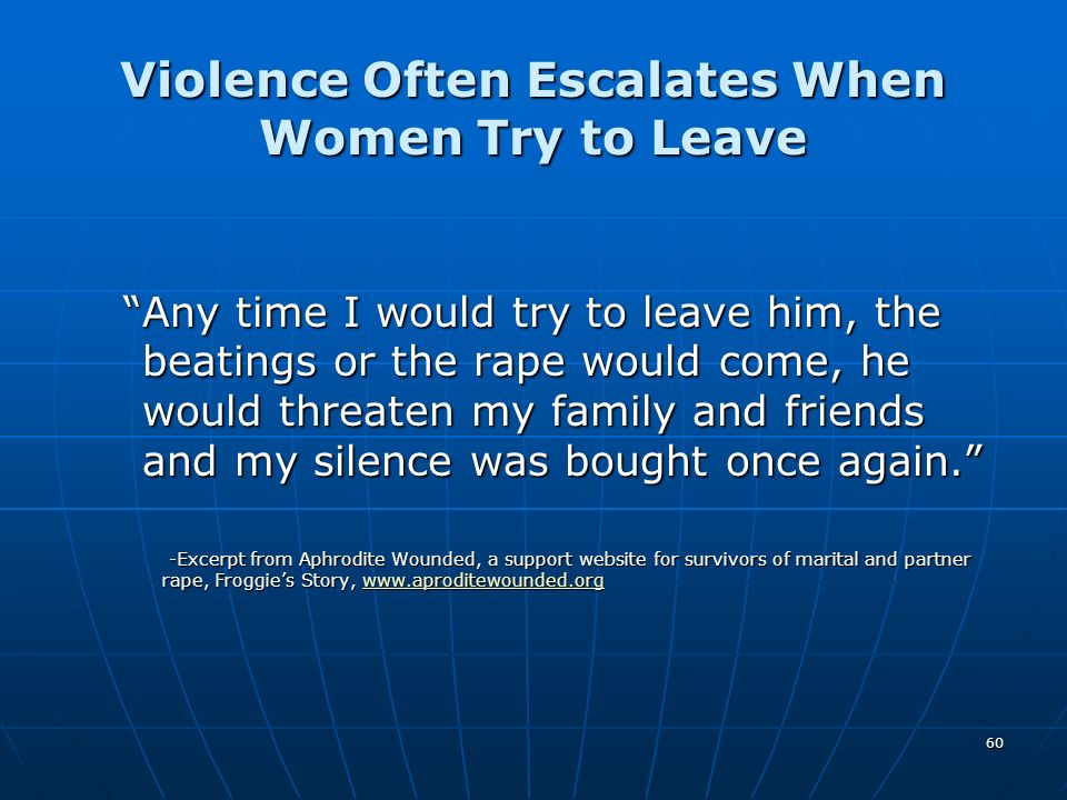 Violence Often Escalates When