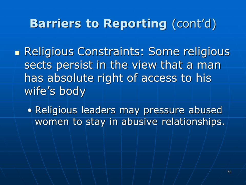 Barriers to Reporting (cont'd)
