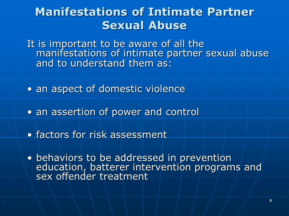 Manifestations of Intimate Partner Sexual Abuse