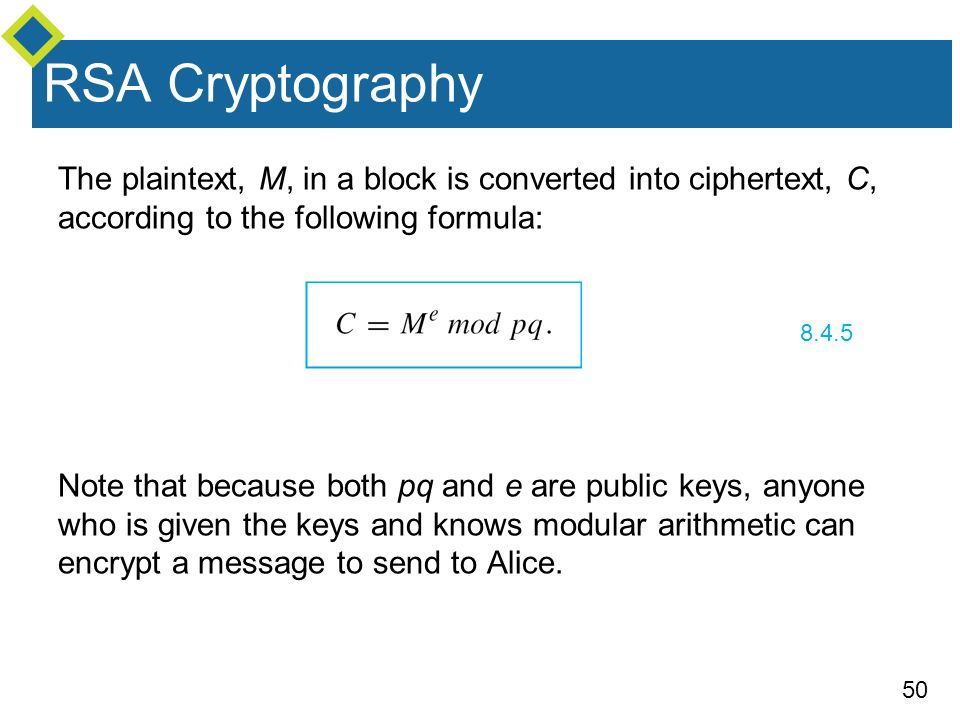rsa cryptography the plaintext, m, in a block is converted into ciphertext,  c