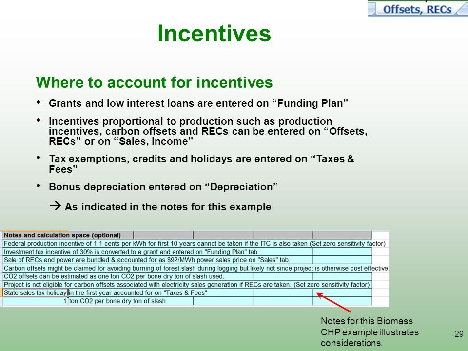 Incentives Where to account for incentives